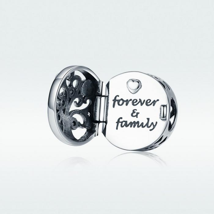 Talisman argint cu copacul vietii si Forever & Family mesaj de dragoste [4]