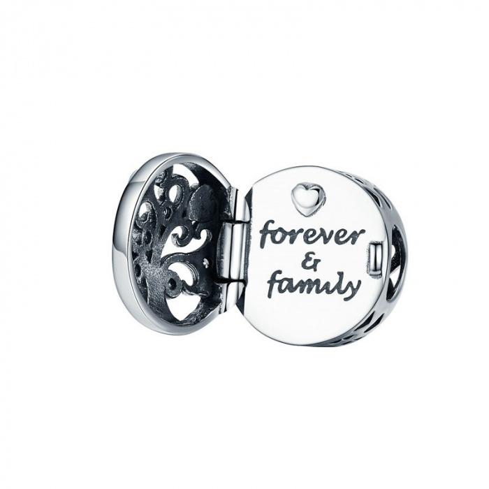 Talisman argint cu copacul vietii si Forever & Family mesaj de dragoste [0]