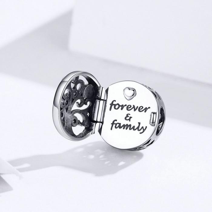 Talisman argint cu copacul vietii si Forever & Family mesaj de dragoste [2]