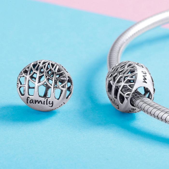 Talisman argint cu copacul vietii si mesaj Family [3]