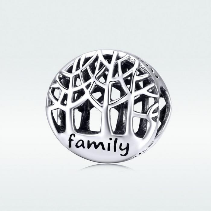 Talisman argint cu copacul vietii si mesaj Family [4]