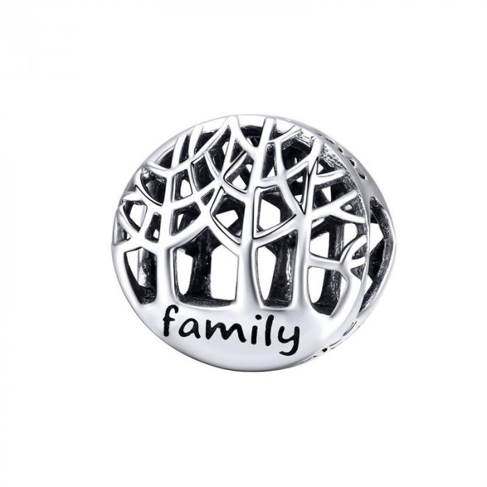 Talisman argint cu copacul vietii si mesaj Family [0]