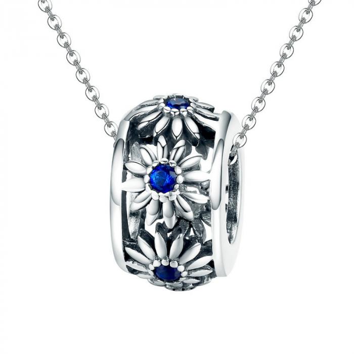 Talisman argint cu flori si cristale albastre [0]