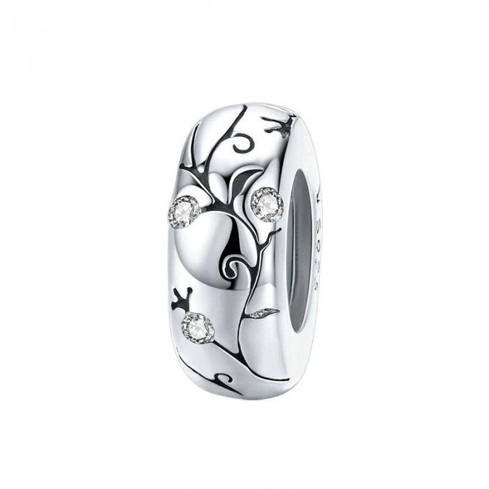 Talisman argint cu model floral si zirconii [0]