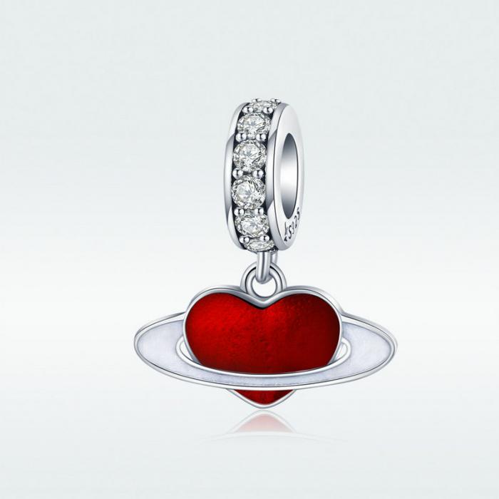 Talisman argint cu planeta inimia rosie si zirconii albe 4