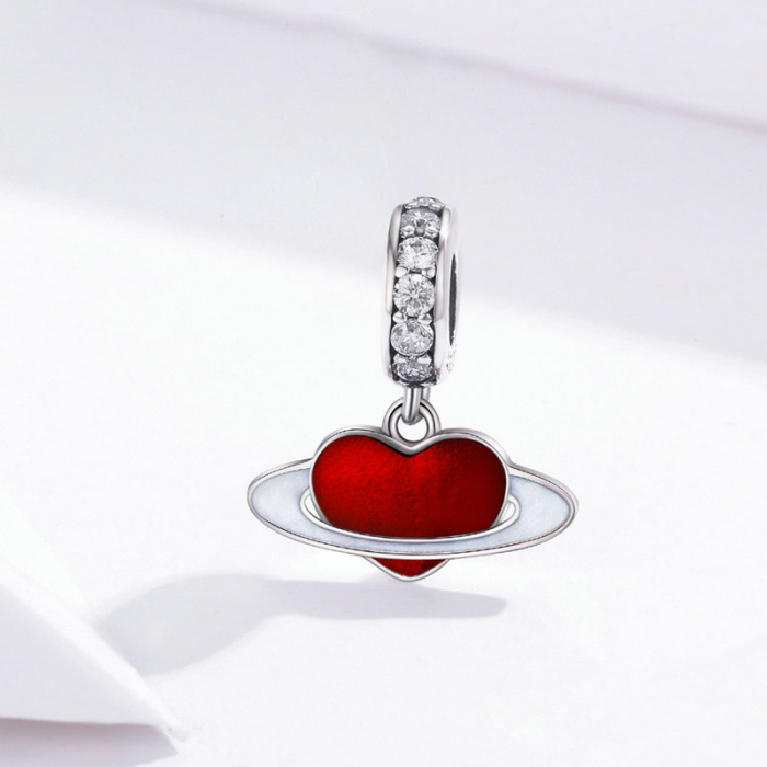 Talisman argint cu planeta inimia rosie si zirconii albe 2