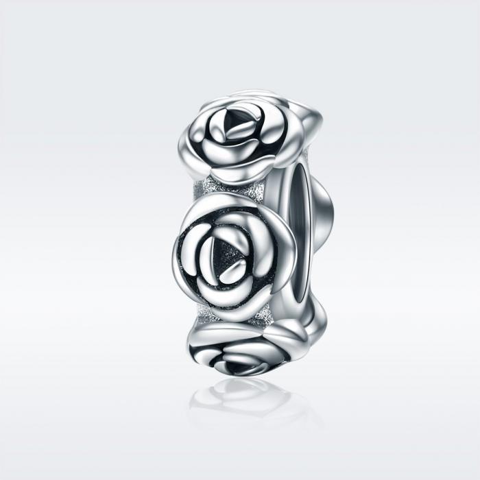 Talisman argint cu trandafiri 1