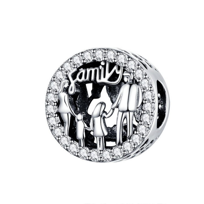 Talisman argint cu zirconii albe si desen cu mesaj Family [0]