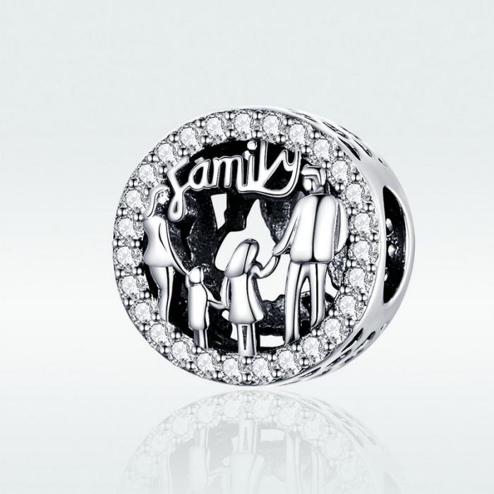 Talisman argint cu zirconii albe si desen cu mesaj Family [4]
