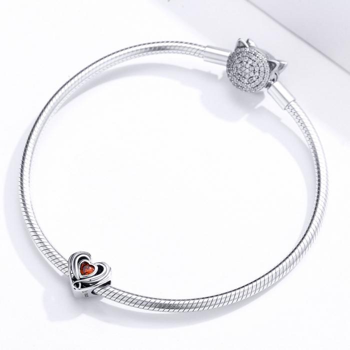 Talisman argint in forma de inima cu cristal rosu [3]