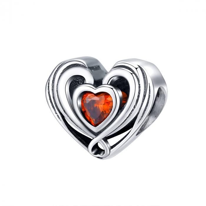 Talisman argint in forma de inima cu cristal rosu [0]