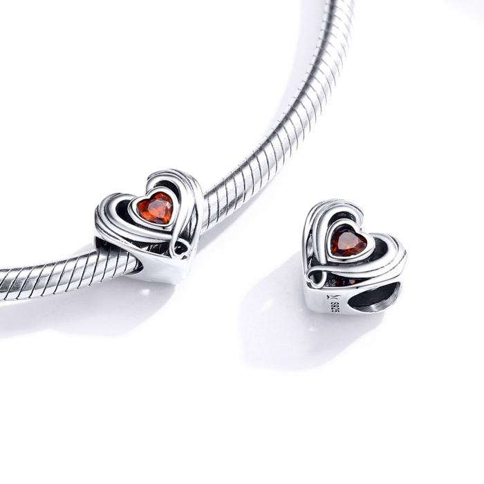 Talisman argint in forma de inima cu cristal rosu [4]
