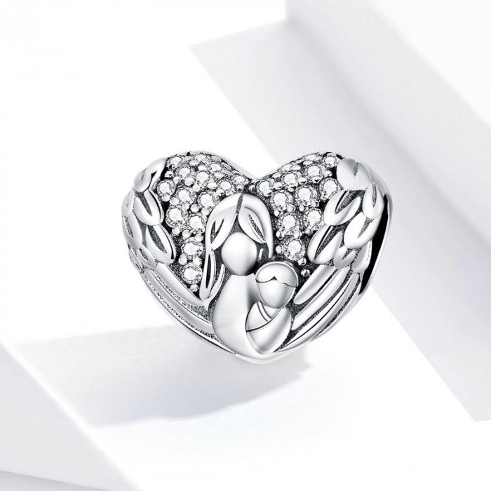 Talisman argint inima cu aripi de inger, mama si pruncul si zirconii [2]