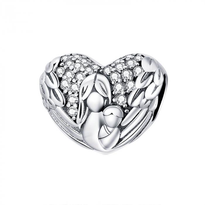 Talisman argint inima cu aripi de inger, mama si pruncul si zirconii [0]