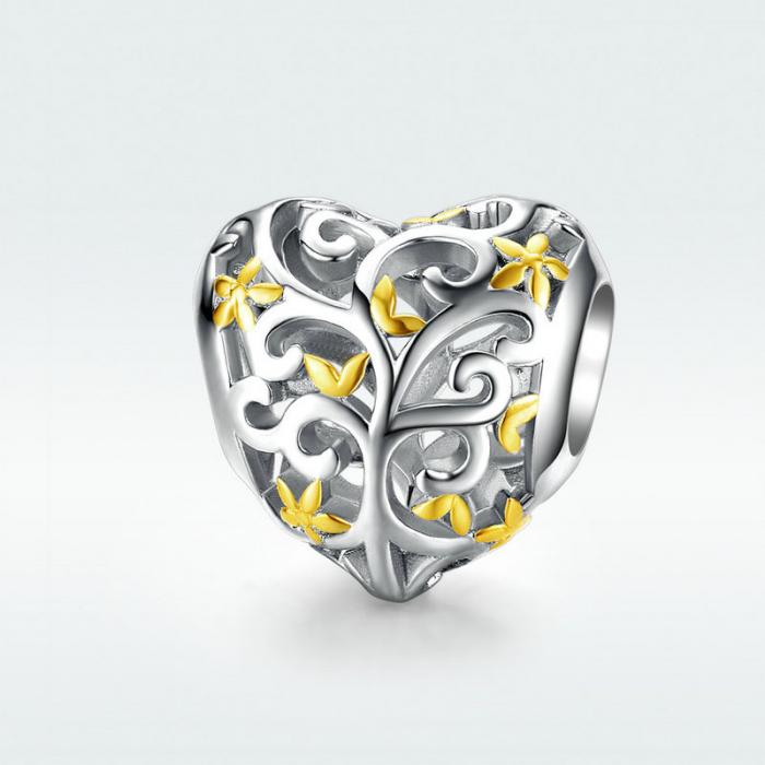 Talisman argint inima cu Copacul Vietii 4