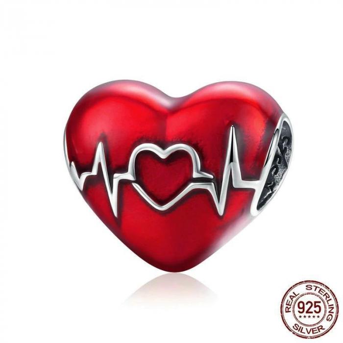 Talisman argint inima cu puls 1