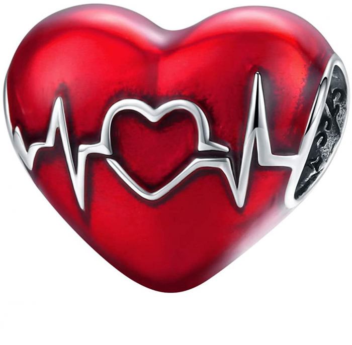 Talisman argint inima cu puls 0