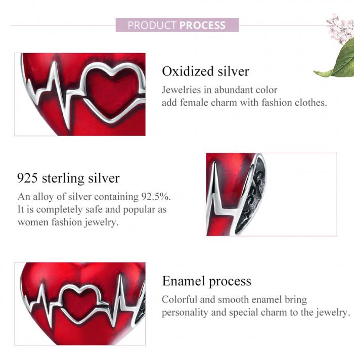 Talisman argint inima cu puls 3