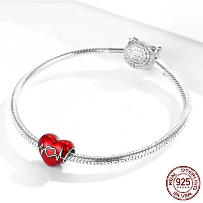 Talisman argint inima cu puls 5