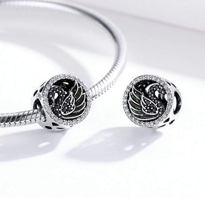 Talisman argint Lebada Neagra cu cristale [1]