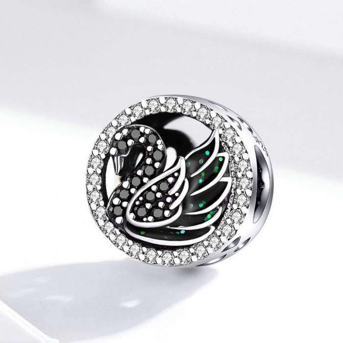 Talisman argint Lebada Neagra cu cristale [2]