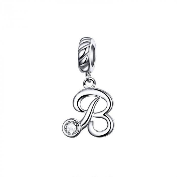 Talisman argint litera B cu zirconiu [0]