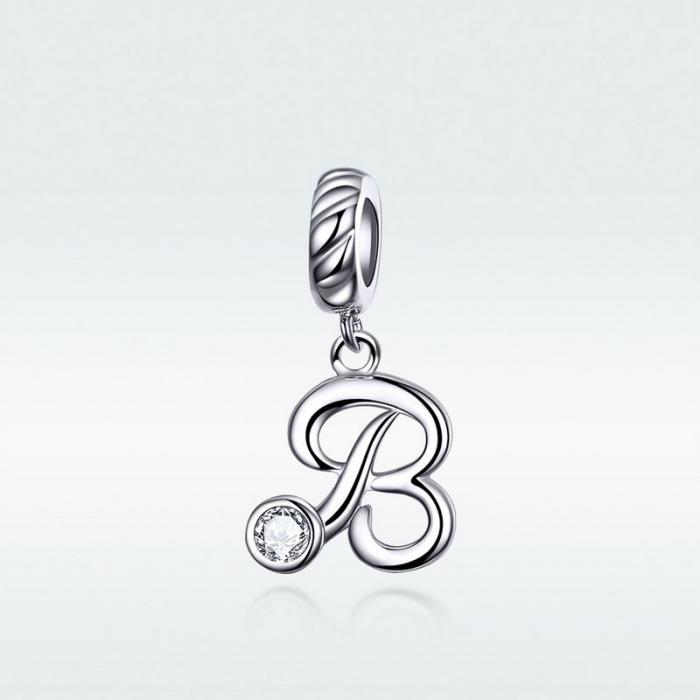 Talisman argint litera B cu zirconiu [6]