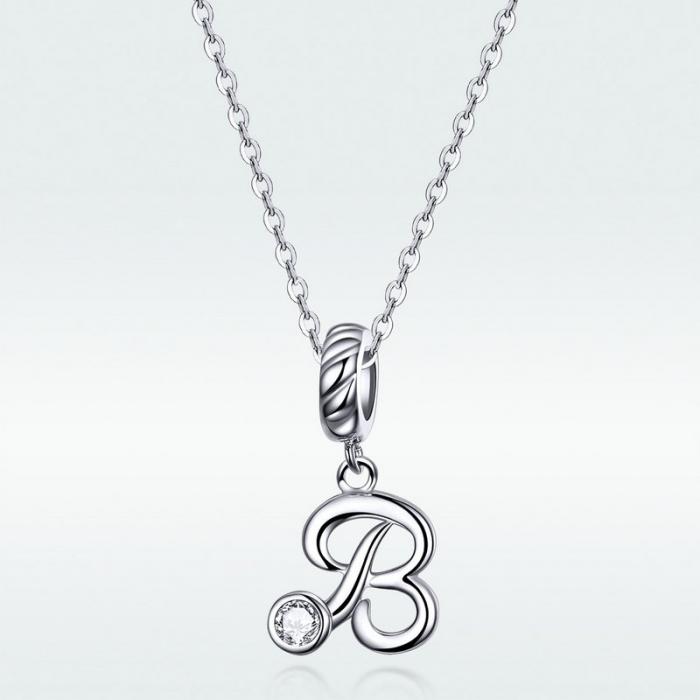Talisman argint litera B cu zirconiu [5]
