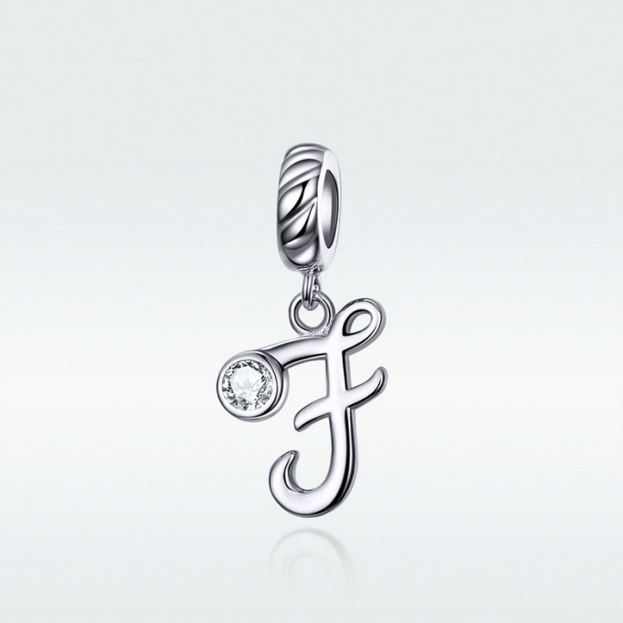 Talisman argint litera F cu zirconiu [3]