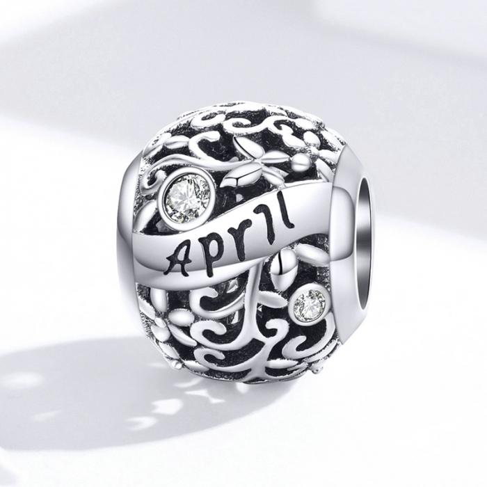 Talisman argint luna Aprilie cu zirconiu 3