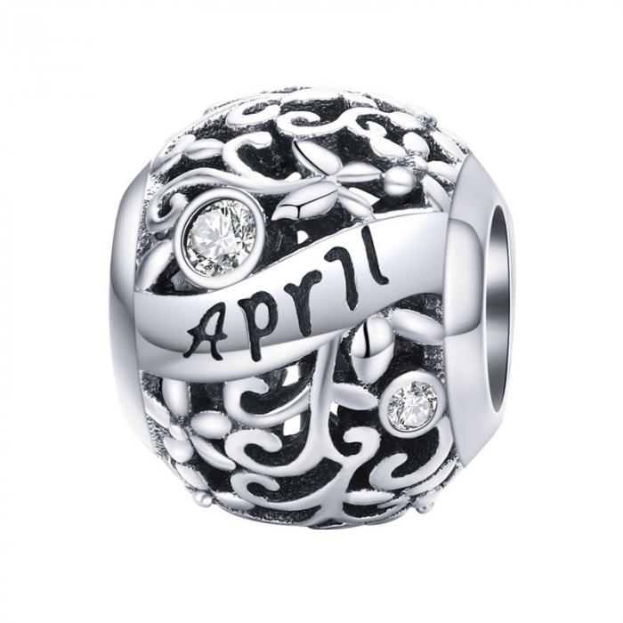 Talisman argint luna Aprilie cu zirconiu 0