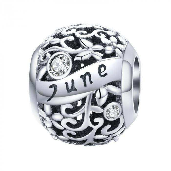Talisman argint luna Iunie cu zirconiu [0]