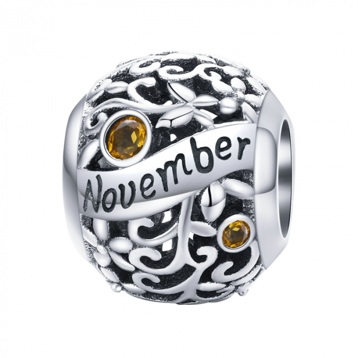Talisman argint luna Noiembrie cu zirconiu [0]