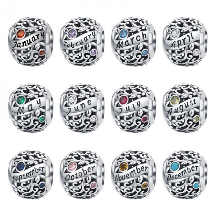 Talisman argint luna Octombrie cu zirconiu [5]