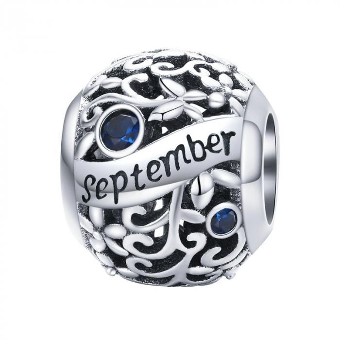 Talisman argint luna Septembrie cu zirconiu [0]