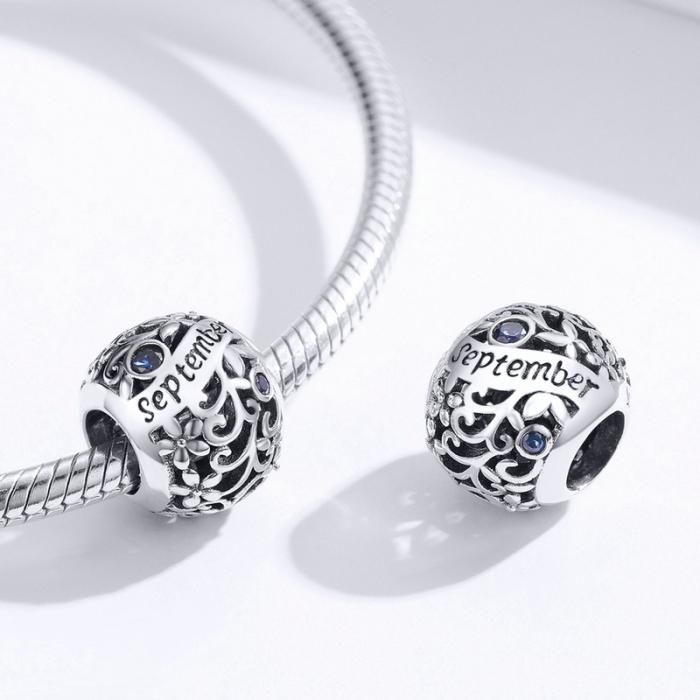 Talisman argint luna Septembrie cu zirconiu [2]