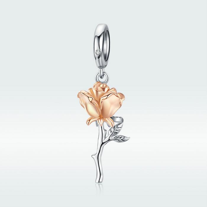 Talisman argint trandafir 3D 4
