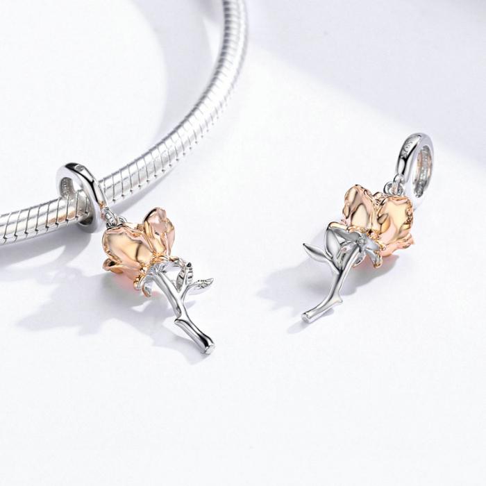 Talisman argint trandafir 3D 1
