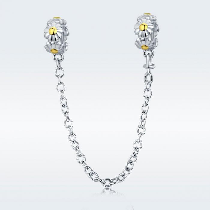 Talisman cu lant de siguranta din argintcu flori 1