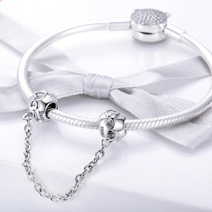 Talisman cu lant de siguranta din argint, cu inimioare  1