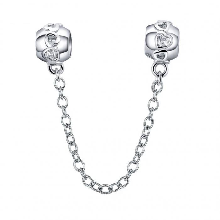 Talisman cu lant de siguranta din argint, cu inimioare  0