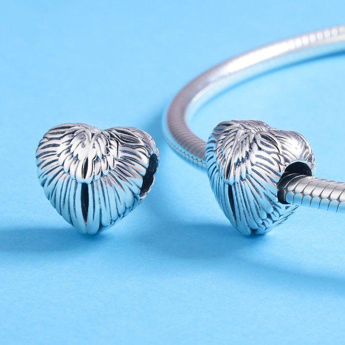 Talisman din argint 925 in forma de inima cu aripi de inger 1