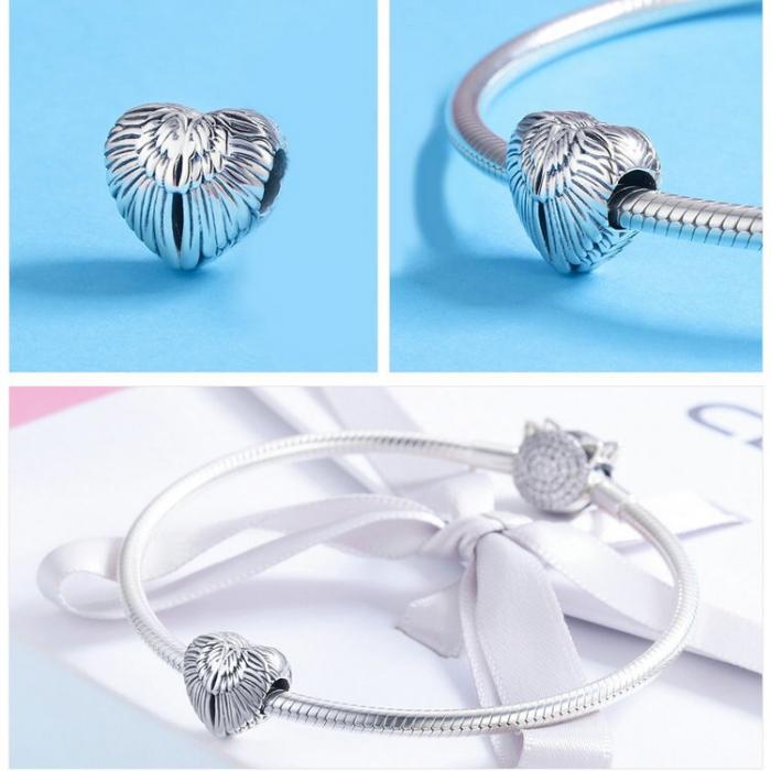 Talisman din argint 925 in forma de inima cu aripi de inger 4