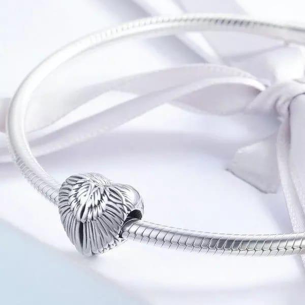 Talisman din argint 925 in forma de inima cu aripi de inger 3