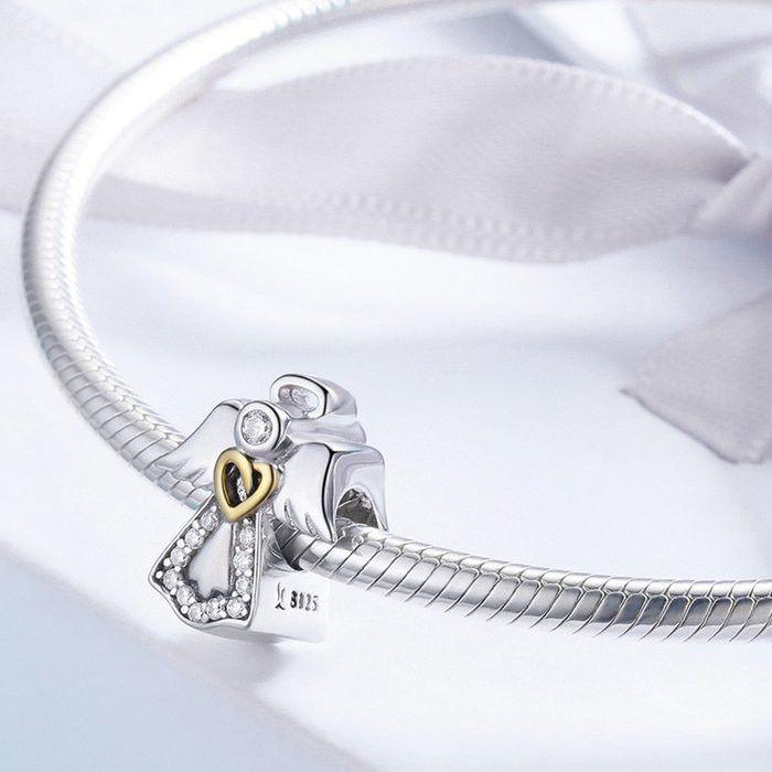 Talisman din Argint Inger Pazitor cu Inimioara Aurie si Zirconii 3