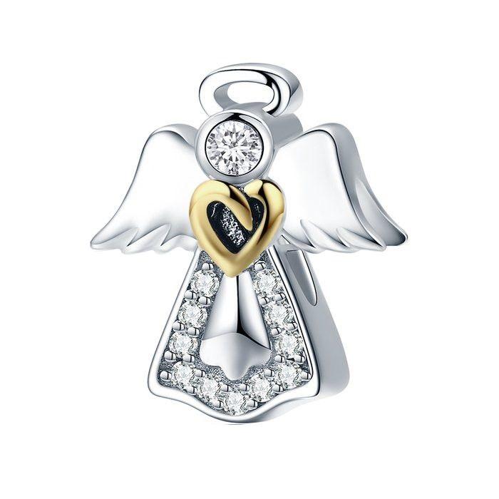 Talisman din Argint Inger Pazitor cu Inimioara Aurie si Zirconii 0