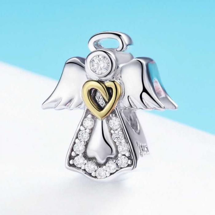 Talisman din Argint Inger Pazitor cu Inimioara Aurie si Zirconii 1