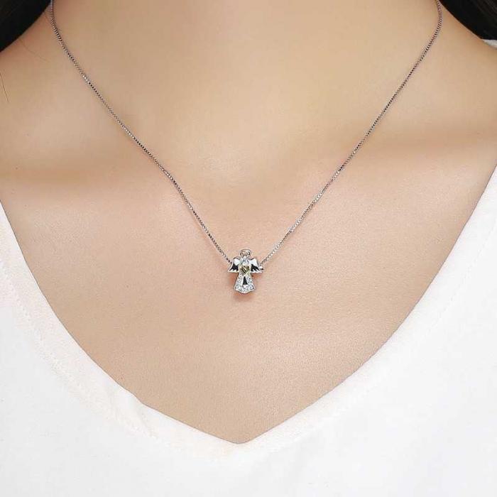 Talisman din Argint Inger Pazitor cu Inimioara Aurie si Zirconii 4