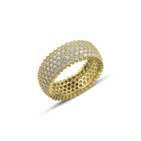Inel argint Eternity cu zirconii, placat cu aur