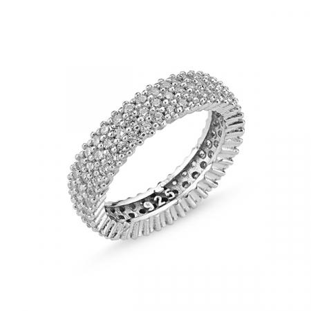 Inel argint 925 cu trei randuri de zirconii albe ITU0078